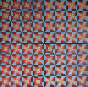 Berkeley Square 2 (blue and brown) 2010, oil on canvas, 102cm x 102 cm
