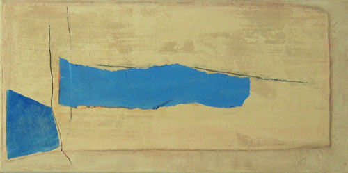 Slashes and Blue Forms on Layered Buffs (2012) Watercolor paper, mulberry paper, acrylic, pencil on canvas,12 x 24 inches