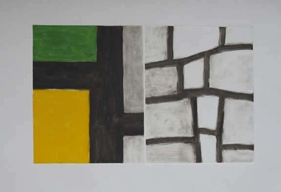 To Be Continued . . . 2012 monotype on gray Magnani Pescia paper 15x20 1/4 inches (p) 10x16 inches (i)
