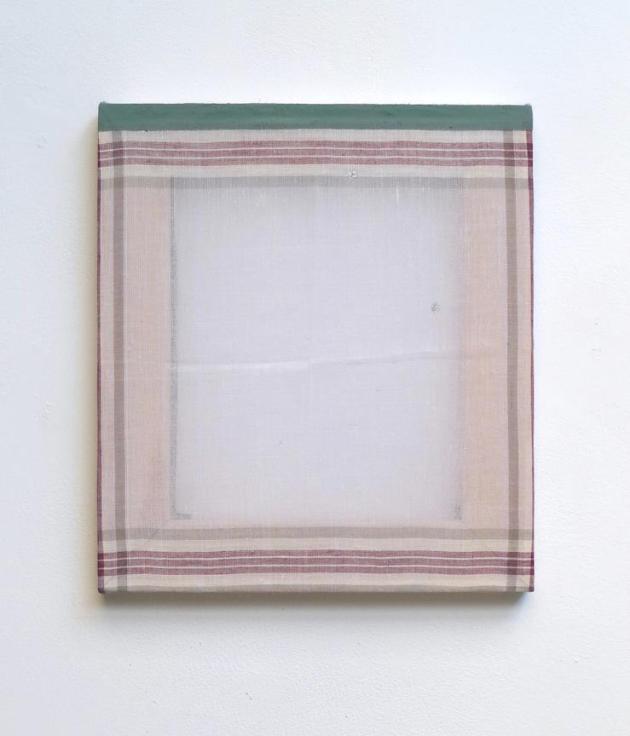 Hankie Painting, 2012 acrylic, casein on synthetic handkerchief 11 x 10 in.