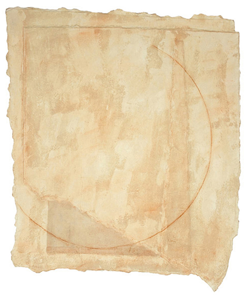 Layered Buffs VII (2011) Watercolor paper, canvas, mulberry paper, pencil, 26 x 21 3/4 inches