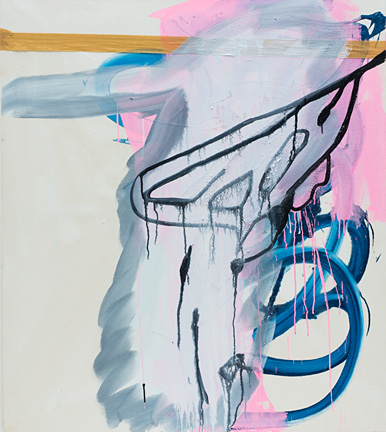 Pink Blue Brown, acrylic and brown tape on canvas, 125x110 cm 2012