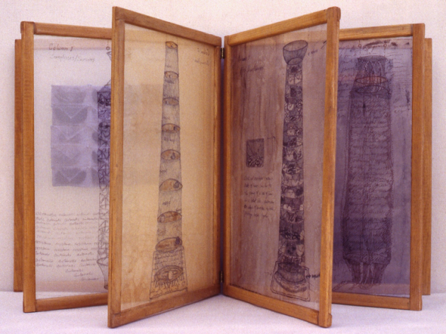Column Book     wood, hinges, acrylic, ink, photo transfer, organza    18 x 30 x 15 inches     1996
