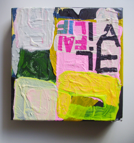 Untitled (LIFE FAIL), Acrylic & Permanent marker on Linen, 20 x 20 cm's, EC 2013