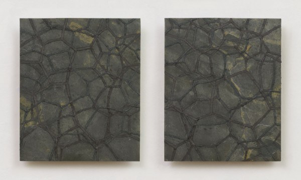 "Surface Tension 8  Slate, iron, micaceous iron oxide, silver graphite, wax. 7.25"" x 13"" 2012"