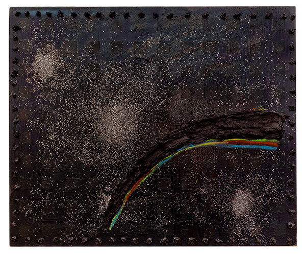 Joggie (Black Rainbow), 2012. Oil, spray paint and glitter on canvas.