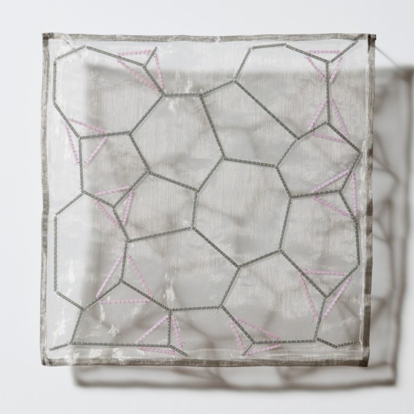 "Surface Tension: Steel, Rose  Acid-etched glass rods, silver wire, coated silver wire, stainless-steel mesh. 10"" x 10"" 2010"