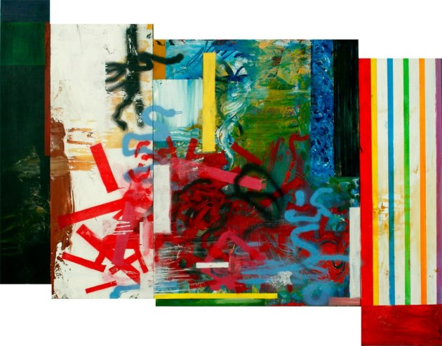 "sometimes it's one thing after another, 68"" x 86"", acrylic, latex, spray enamel on four canvas panels, 2013."