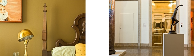 "Diptych: Guest Bedroom, Charottetown, Prince Edward Island/Frederick William MacMonnies, Bacchante and Infant Faun (1894), Baltimore Museum of Art. 2012 inkjet print 23"" x 68"""