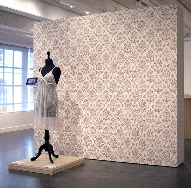 Laura Splan, Wallpaper 2008, site-specific instllation, Museum of Contemporary Craft (Portland, OR) hand block-printed wallpaper with blood 86H x 96W inches.