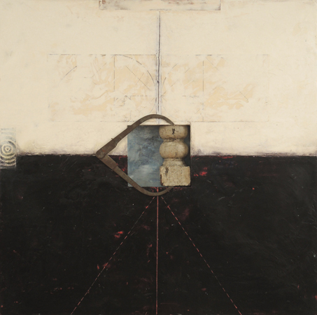 "Construct, 2013 30"" x 30 "" x 1.5 "" Oil, encaustic and paper on wood panel Available from Hoadley Gallery, Lenox, Mass"