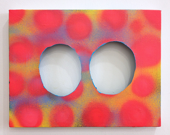 """BOB, 2013, 11"""" x 9"""", Acrylic and Spray paint on cut-canvas"""