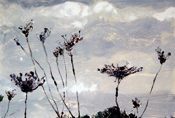 """Clouds and Queen Anne's Lace      monotype, 22"""" x 30"""""""