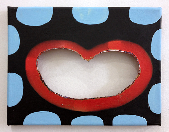 """Pancake, 2013, 9"""" x 11"""", Acrylic and Spray paint on cut-canvas"""