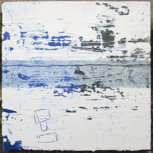 Baer whites no.14 2013 oil, encaustic, collage on panel 10x10""