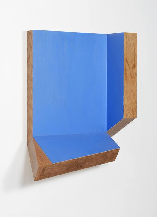 "Blue Façade 2013, White Oak, Ash Veneer and Acrylic Color, 15"" x 13"" x 5.75"" (38cm x 33cm x 14.6cm)"