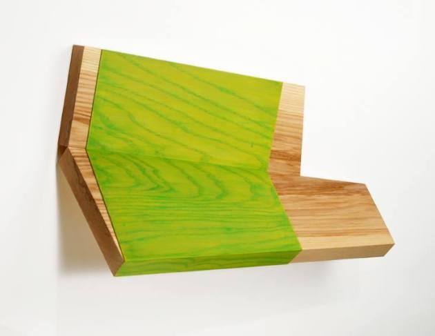 """Hinge #2"" 2012, Ash, Ash Veneer, Acrylic Color, 14"" x 22"" x 8"" (35.5 x 56 x 20.5cm)"