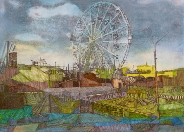 """Coney Island Morning"" 2012 Mixed Media 10″ x 14″"
