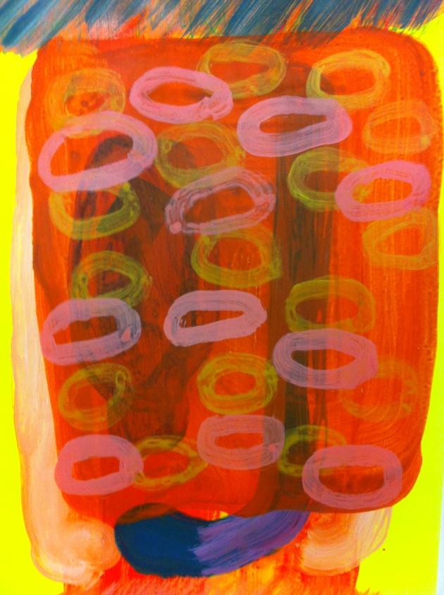 Fringe, acrylic paint on card