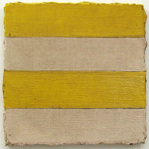 Yellow Stripe, 2013, Oil and enamel on canvas, 39 x 39 cm. Private Collection, London