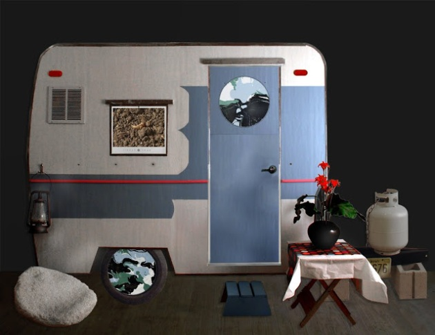 Camper installation with video, paintings and found objects.