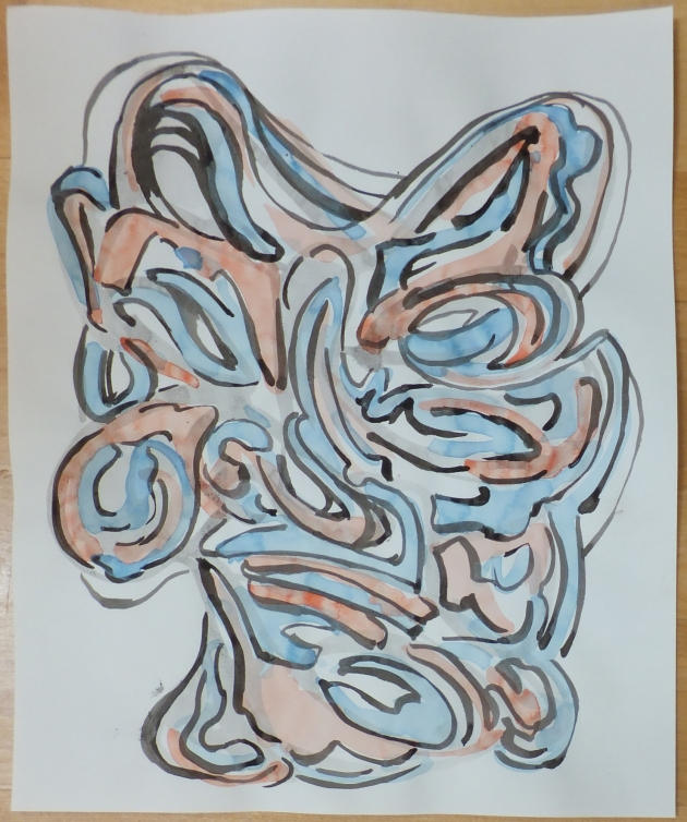 Daruma (Thinking of Hakuin Ekaku) 14 of 22, 2013, ink & watercolor on paper, 14 x 11 inches