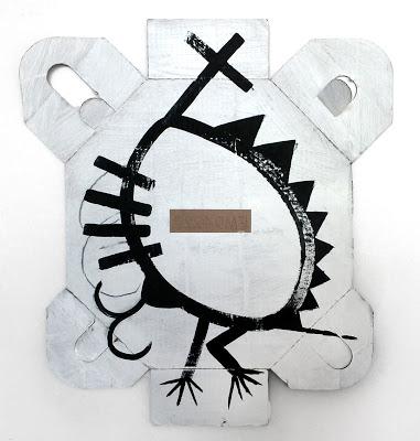 """After Charline Doodle"" 26x24 inches, black gesso on found cardboard (irregular shape)."