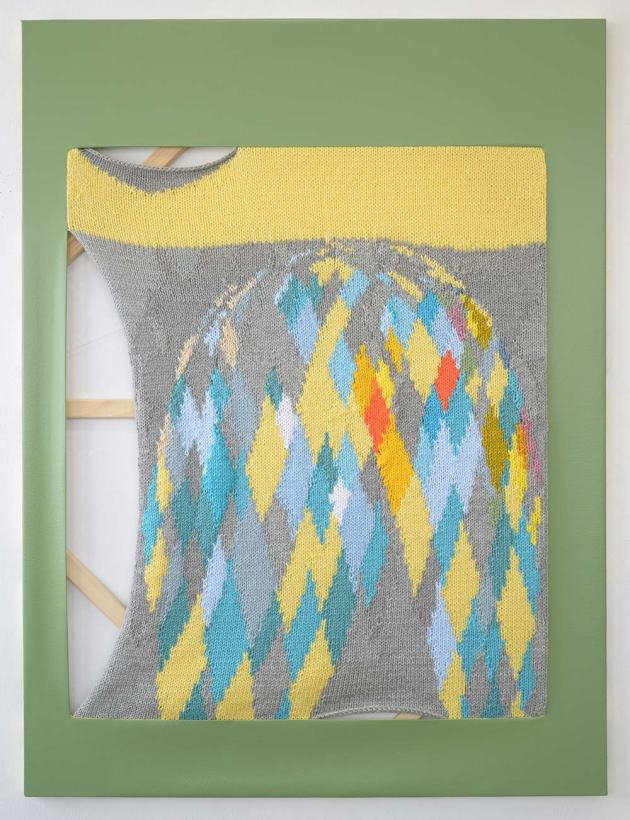 Bruno's Full Moon, 2013 Hand-knit yarn and acrylic on canvas 48 x 34 inches