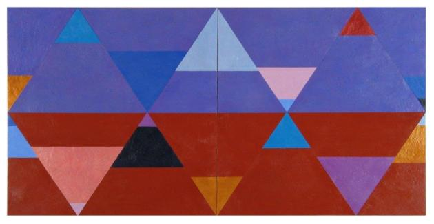 Chromatic Geometry  13, 2013, encaustic on panel, diptych, 24x48