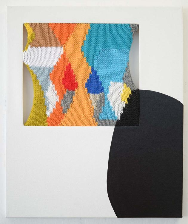Crack and Plume, 2013 Hand-knit yarn and acrylic on canvas 24 x 20 inches