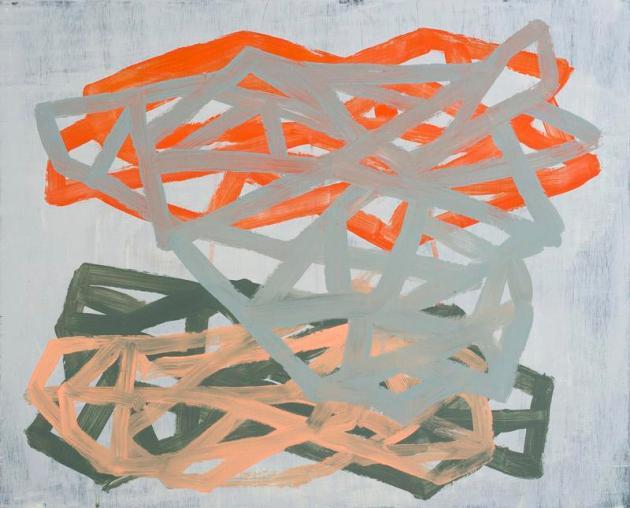 "Intersection, 2013, acrylic on panel, 16"" x 20"""