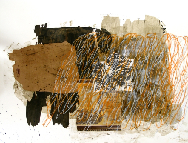 "Duro, 2012, mixed media on paper, 38"" x 50"""