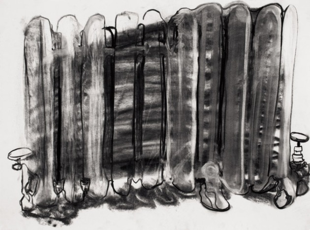 Organ, 2012, charcoal on paper, 18 x 24 inches.