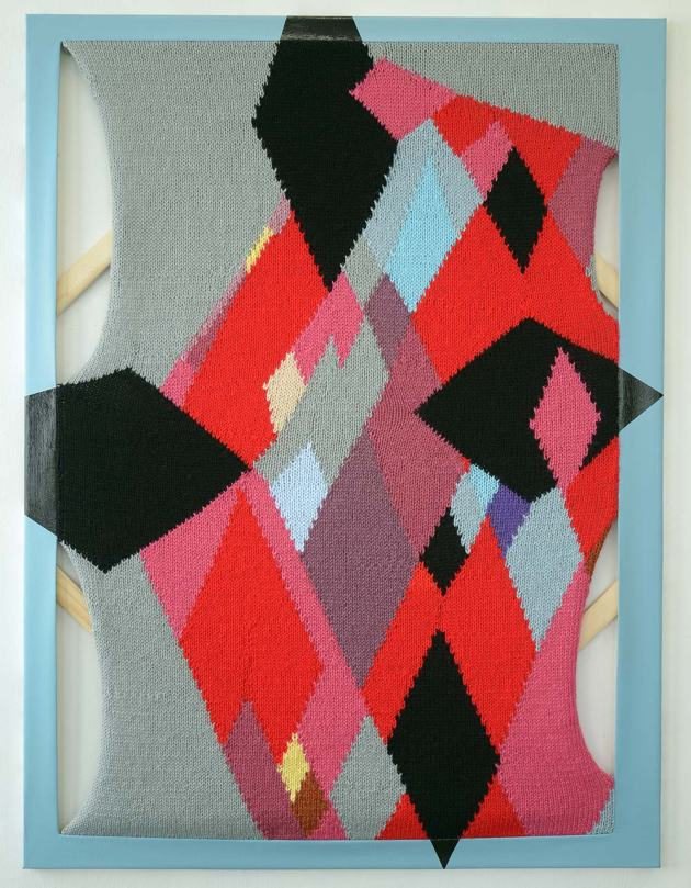 Prisma 2013 Hand-knit yarn and acrylic on canvas 48x36 inches