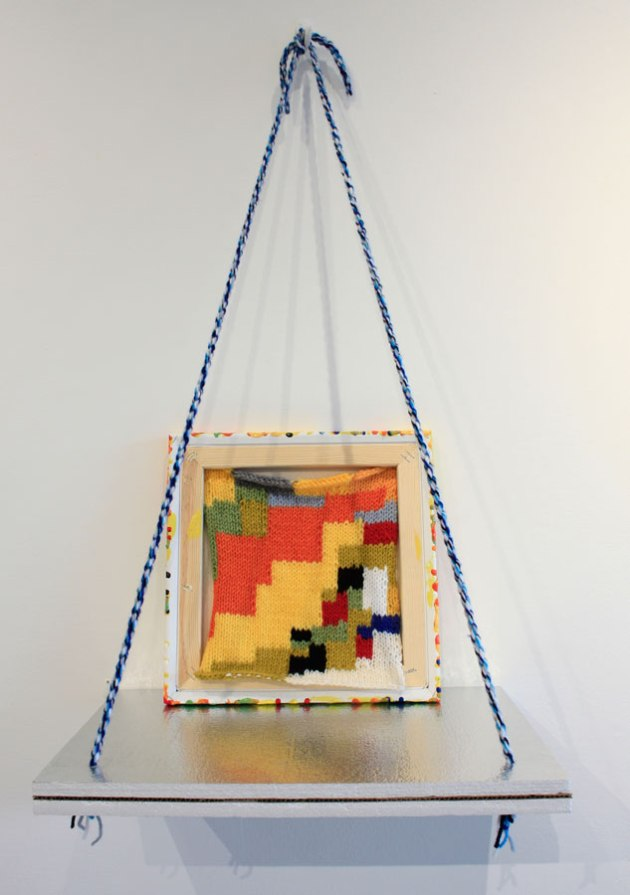 Reciprocity 2012 Yarn, canavas, stretcher, paint, insulation foam, 33x18x12 inches