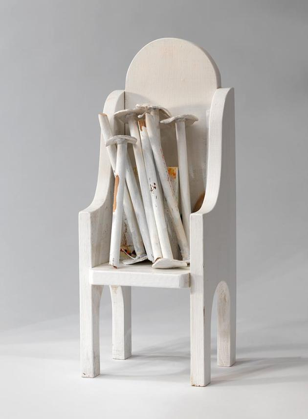 "Carol McMahon, No Hat Trees, 2012, wood, fabric, acrylic, gesso, 17"" x 7"" x 5.5"""