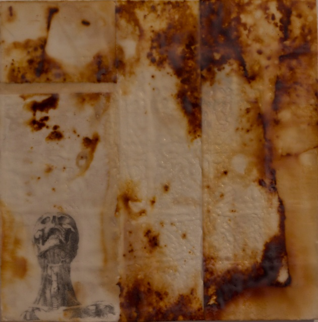 Accept Loss Forever, fig2 -rust, transfer, and encaustic on BFK Rives on panel,12x12 inches, 2010