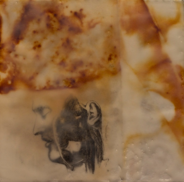 Accept Loss Forever, fig3 -rust, transfer, and encaustic on BFK Rives on panel,6x6 inches, 2010