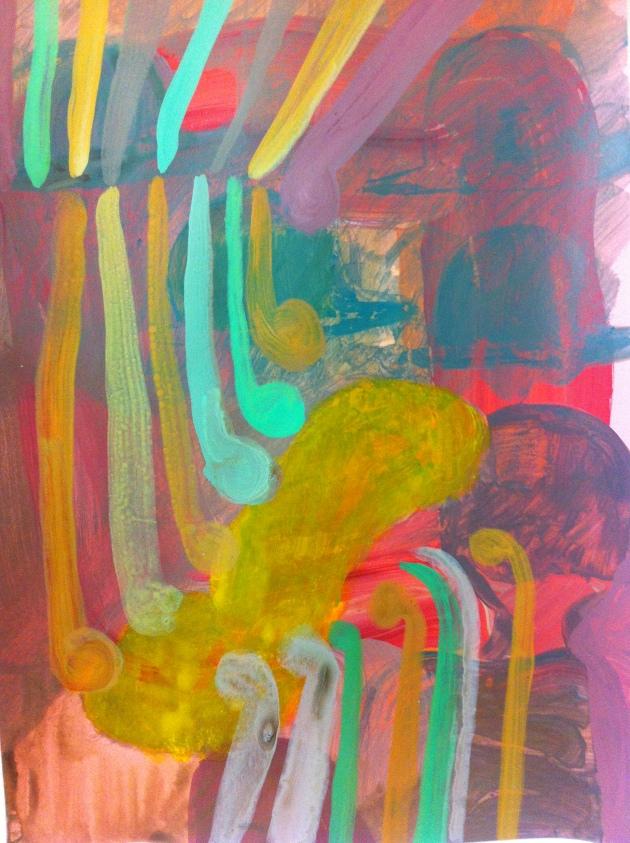 Rachael Macarthur, Bed, acrylic on card