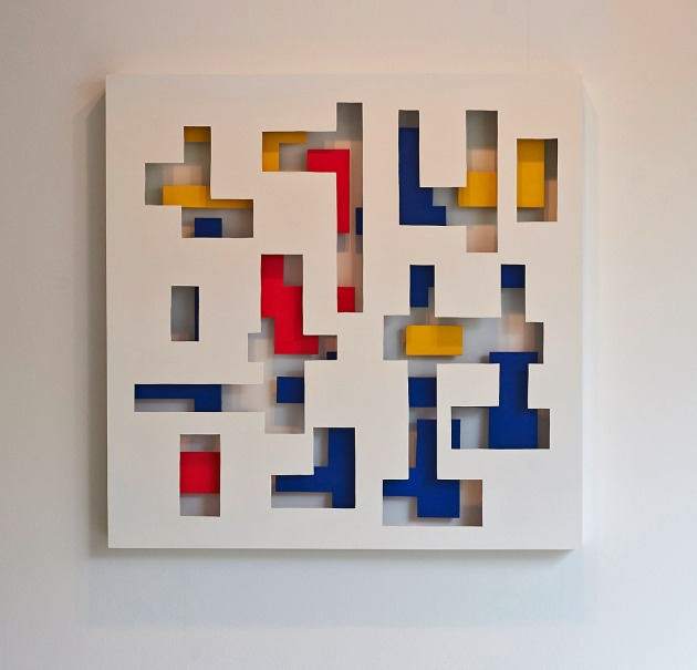 Double Does 2  90 x 90 x 10cm  Layered wood and painted construction made with the help of Galerie Wolkenbank for my solo show PURPOSE MAKER during my stay late last year. It is based on Theo Van Doesburgs' grid work.