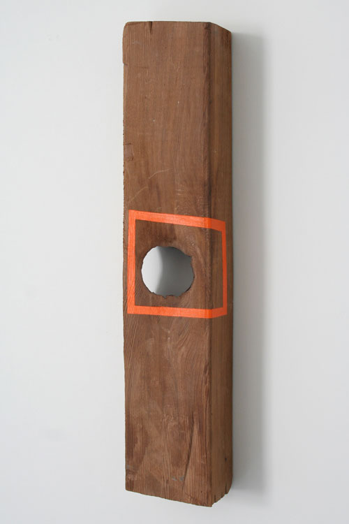 """Fruitville, mixed media on found wood. Less than 8"""" any direction."""