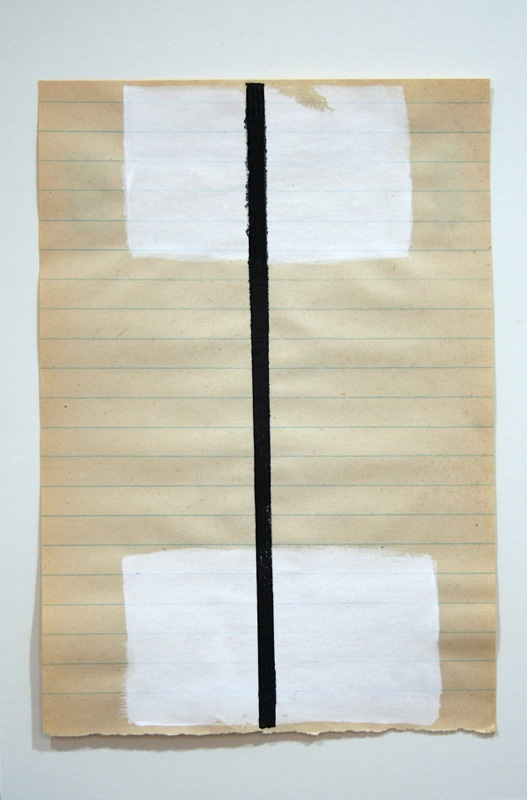 School Papers, mixed media on found school-grade writing paper. Dimensions variable, approx 9 x 6 inches ea.