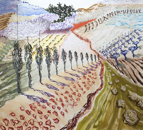 "Lily Prince, San Giovanni D'Asso 1 , 46"" x 51"", oil pastel and watercolor on paper, 2013"