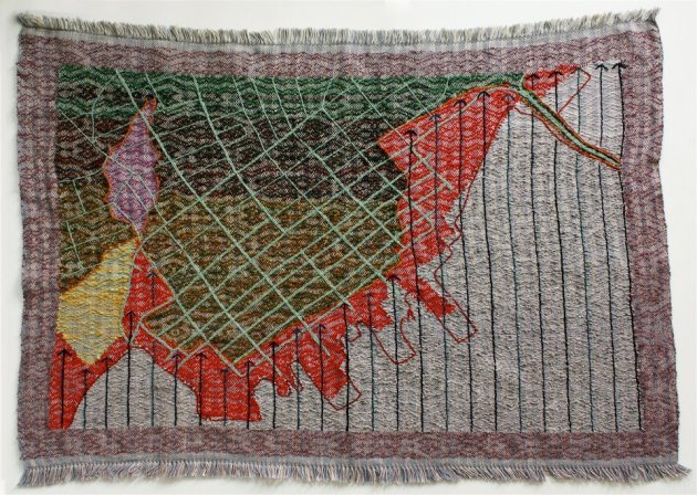 Small Town Close To Water, 28.5x38.5, Handwoven, embroidered, hand-dyed elements, cotton, silk, wool