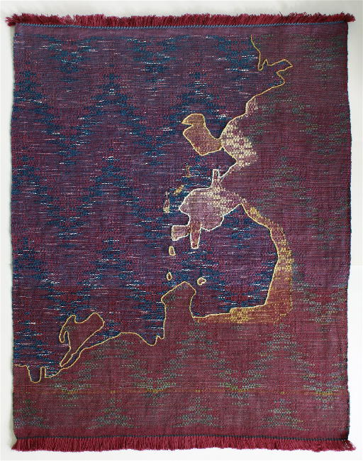 Rilla Marshall, Bottle Cove, 37x28, handwoven, embroidered,  hand-dyed elements, cotton.