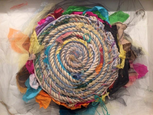 "Spin Cycle Salvaged beach rope, tissue paper, gauze mesh. 36""x42""x2"" Installation for Best Case Scenario, Brooklyn Fire Proof, 2014"