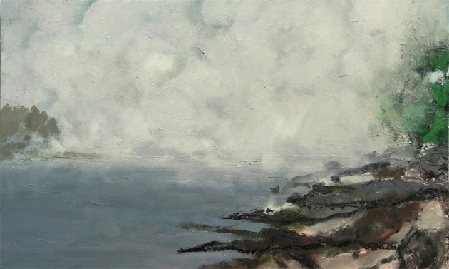 "Conjured Fog 2013 Oil on panel 19.75""x33"""