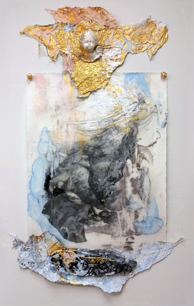 Bonny Leibowitz All Things Considered   2014 46x30 tyvek, plaster, encaustic wax monotype, acrylic, mulberrry and stonehenge paper