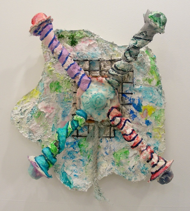 Whirligig 2014, oil paint, tissue paper, beeswax, on extruded plaster, lobster trap brackets, and salvaged beach rope.