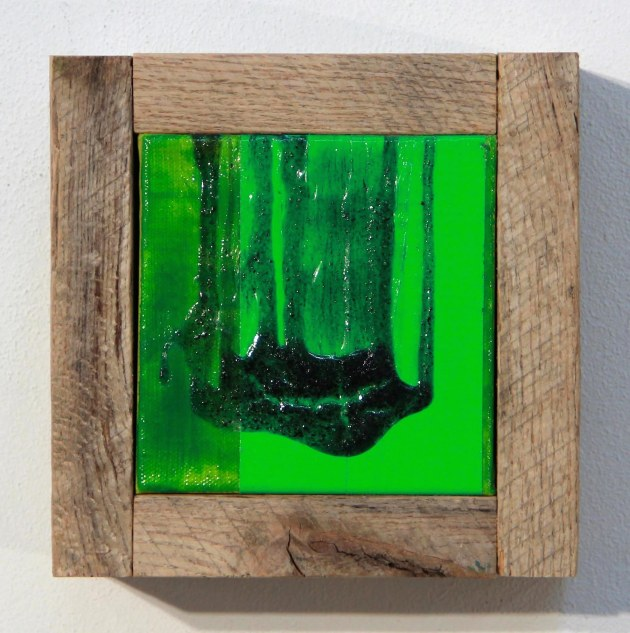 Lime-Levitation-Landslide, 2014, Acrylic, duct tape, and wood on canvas, 7.25(H) x 7.5(W) x 3.75(D)